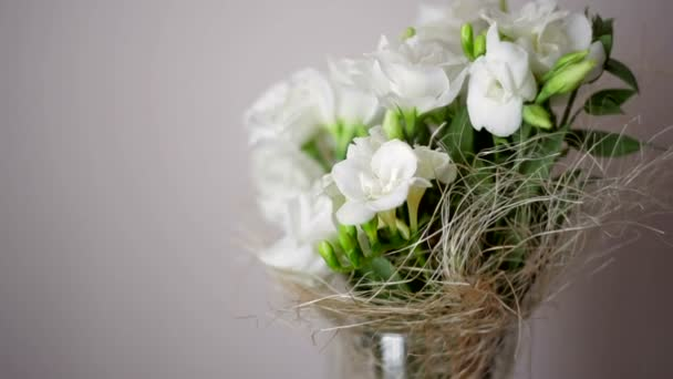 Beautiful wedding bouquet with white roses