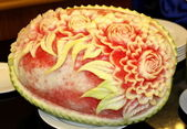 Photo Watermelon carving art