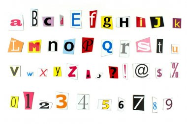 Newspaper letters, numbers and punctuation