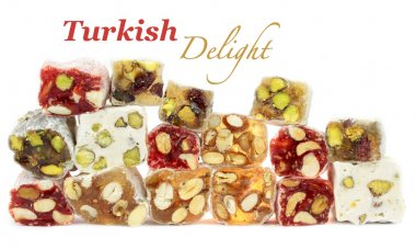 Turkish delight with nuts isolated on white background.