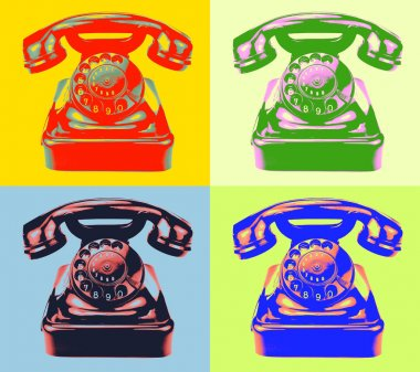 Old rotary phone pop art style image..