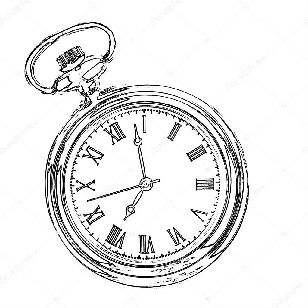 Line Drawing Clock : Alarm clock drawing style — stock photo hayatikayhan