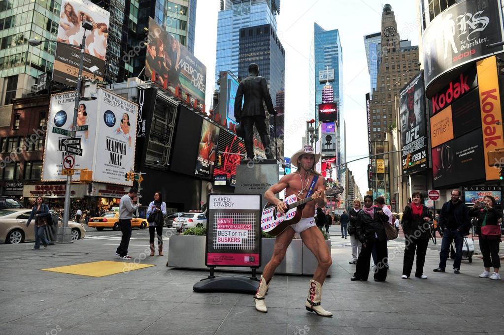 New york city street performer the naked cowboy sings the trump song