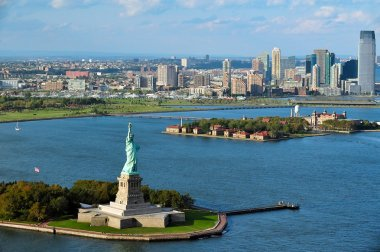 Aerial view of the Statue of Liberty and Ellis Island