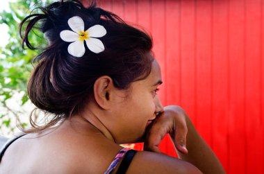Tahitian Gardenia on Cook Islanders woman
