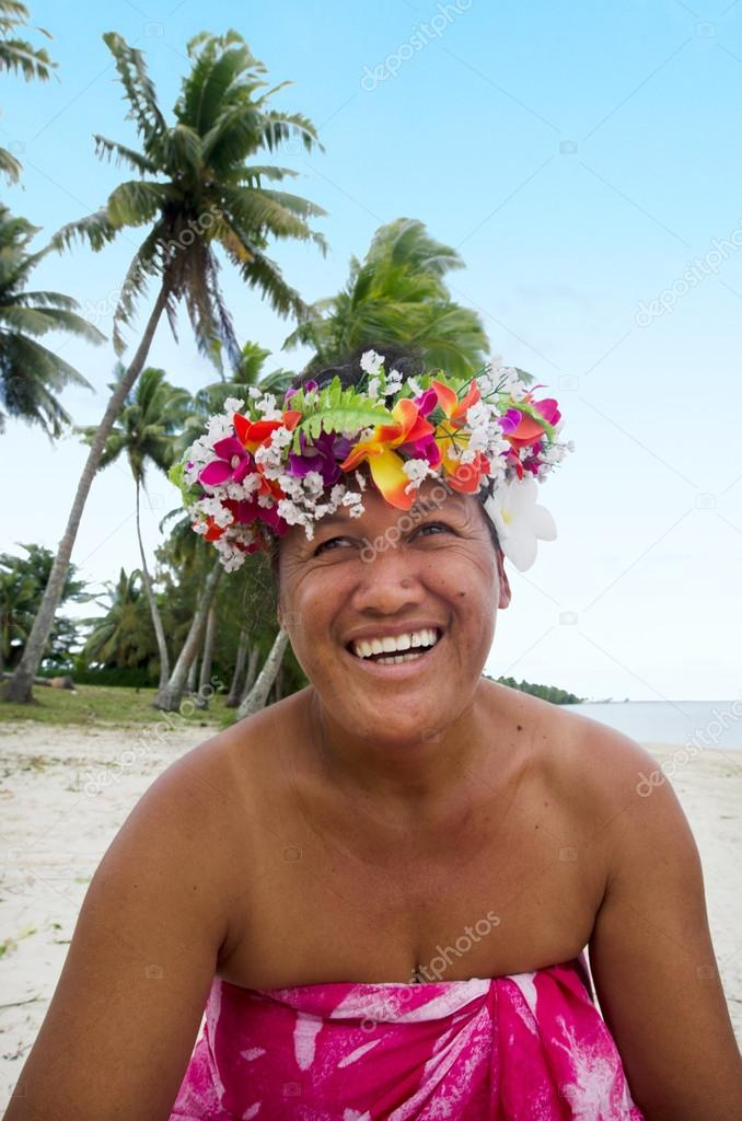 Portrait of Polynesian Pacific Island Tahitian mature woman