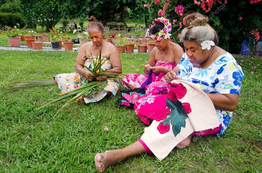 Portrait of Polynesian Pacific Island Tahitian mature women