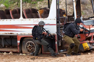 Anti terrorist squads practicing a rescue of hijacked bus