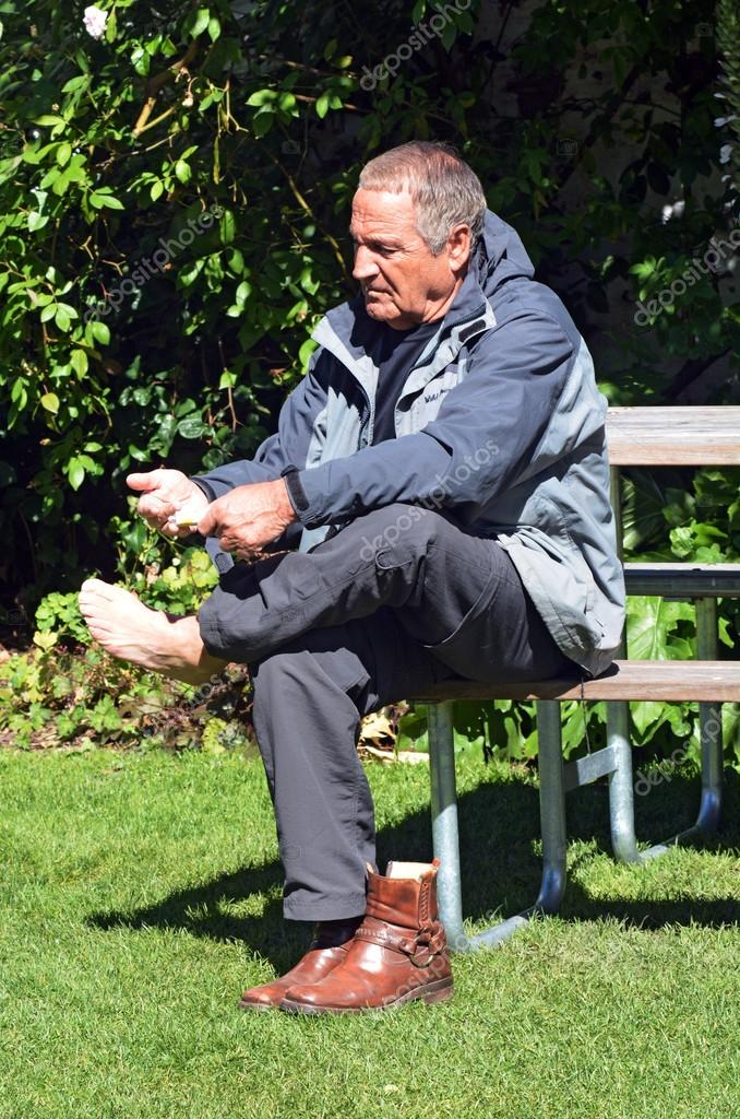 Mature man with foot pain