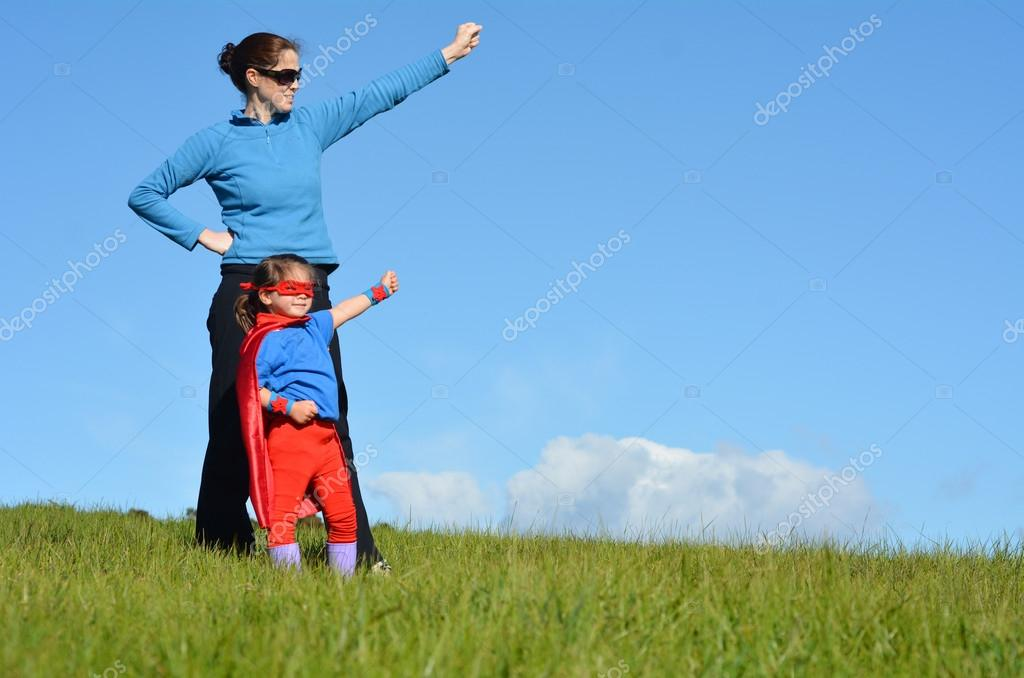 Superhero mother and child