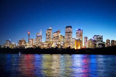 Sydney CBD area taken at nite from the harbour side stock vector