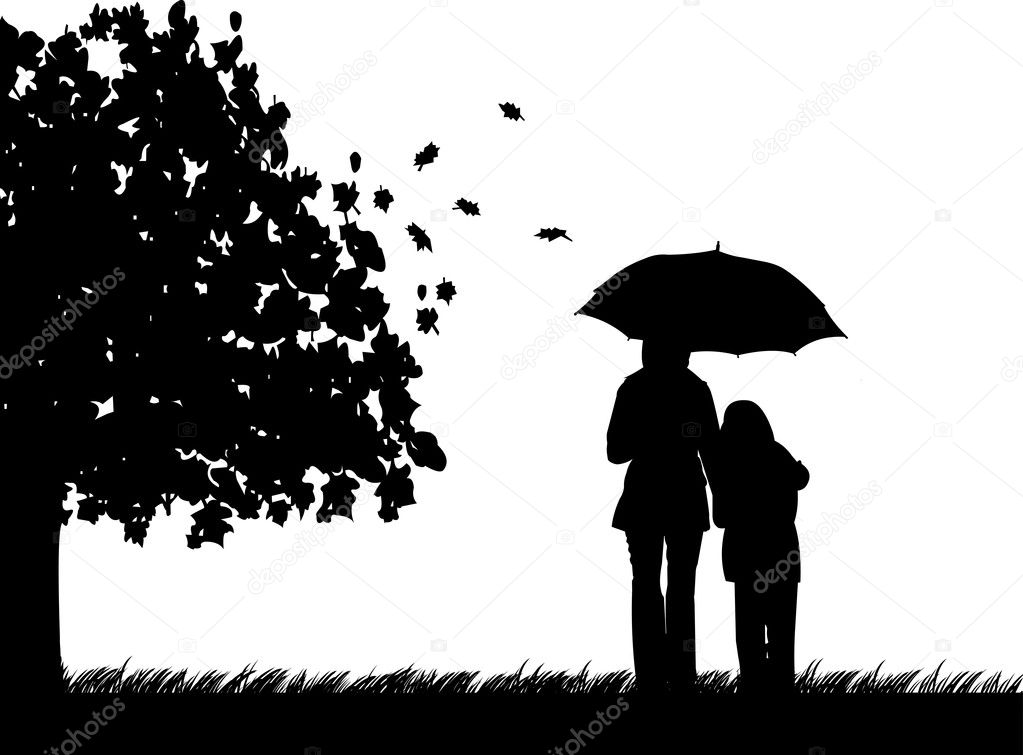 Mother and daughter walking in the park under umbrella in autumn or fall silhouette, beautiful concept wallpaper