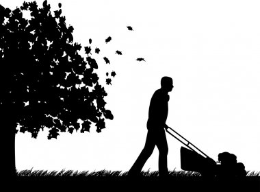 Man cut the lawn or mow the grass in garden in autumn or fall silhouette