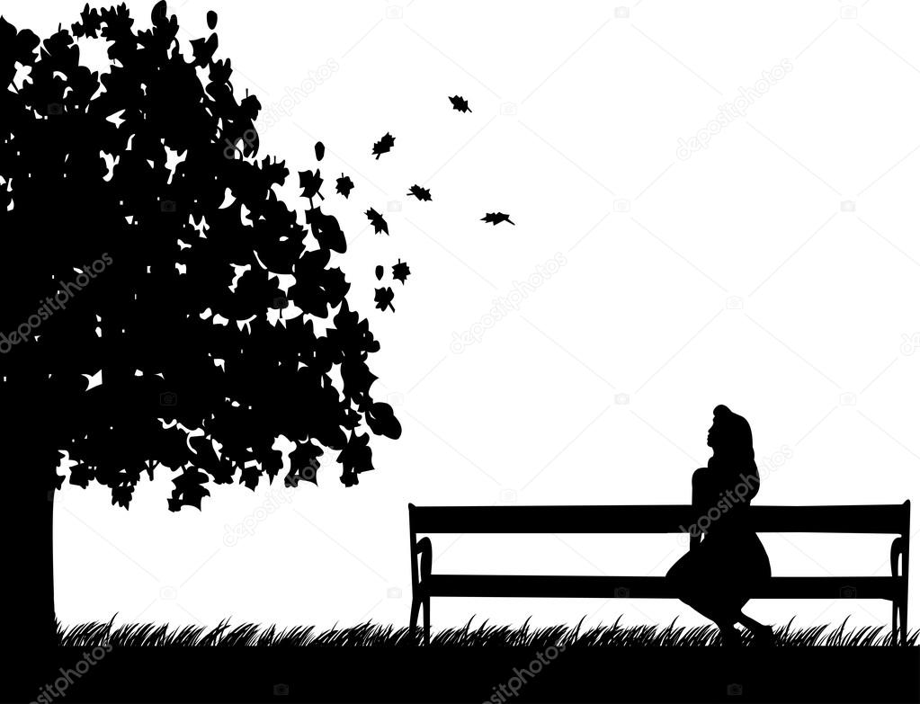 Girl sitting on a park bench, waiting for someone to fall or autumn ... for People On Bench Silhouette  49jwn