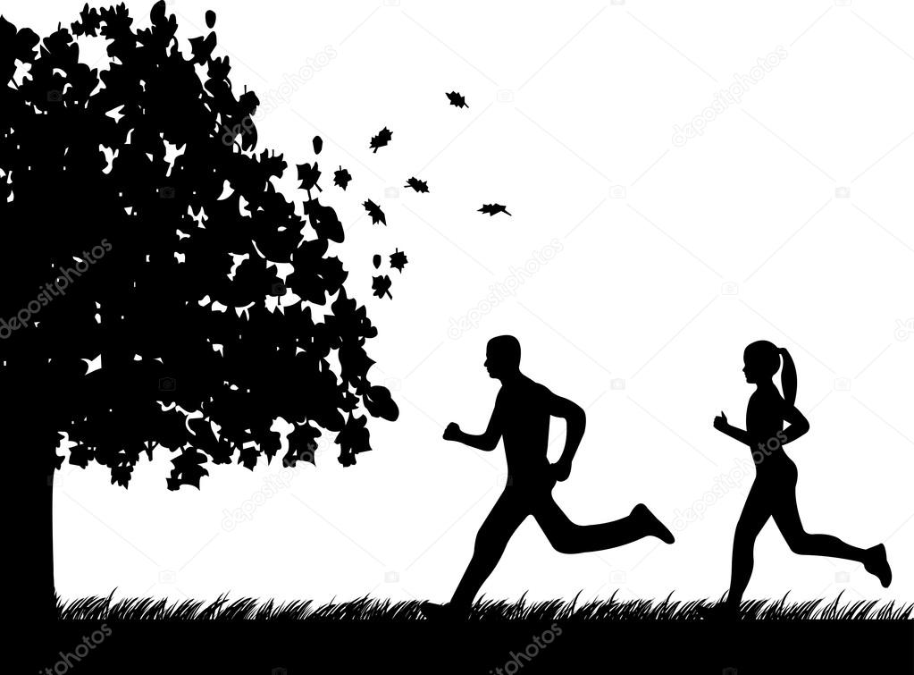 Girl and man running in park in autumn or fall silhouette