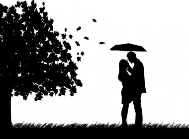 Background with couple with umbrella under the tree in autumn or fall silhouette, one in the series of similar images clip art vector