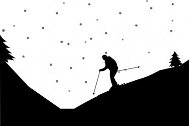 Silhouette of man skiers in winter in mountain