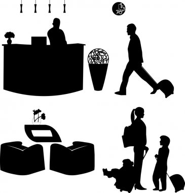 Family on travel and the receptionist at the hotel silhouette