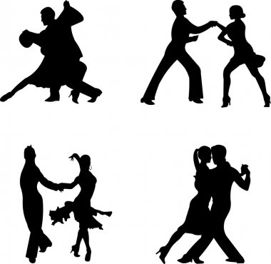 Set of silhouettes of a dancing couple