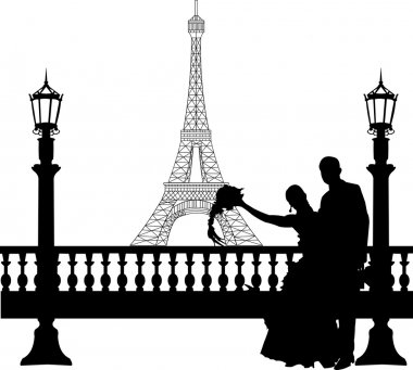 Wedding couple in front of Eiffel tower in Paris on Valentine s day silhouette