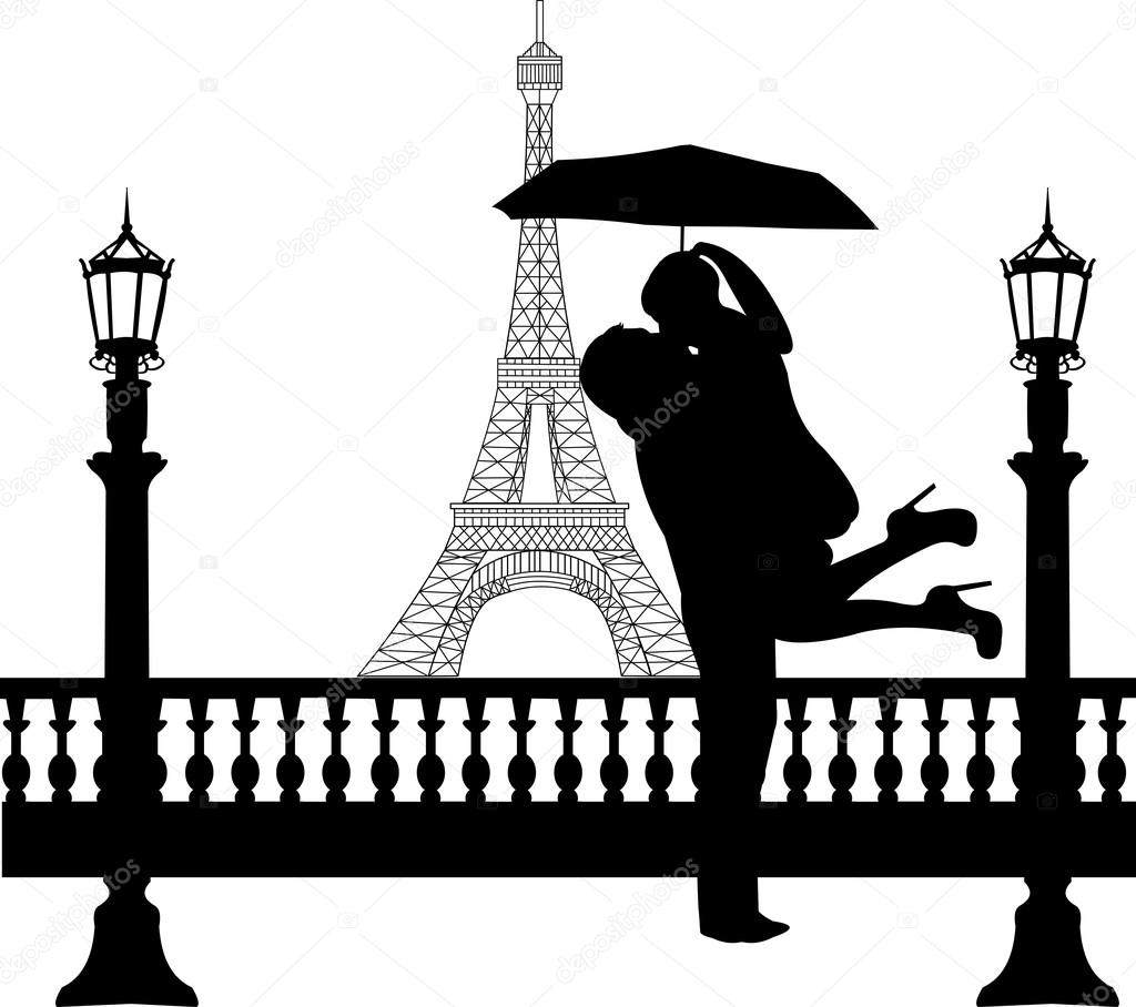 Couple in love with umbrella in front of Eiffel tower in Paris ... for Couple Silhouette Umbrella Kissing  584dqh
