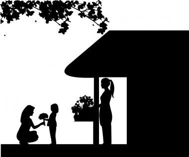 Daughter gives her mother a bouquet of flowers bought in flower shop silhouette
