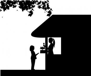 Silhouette of a girl who buys ice cream at an ice cream shop