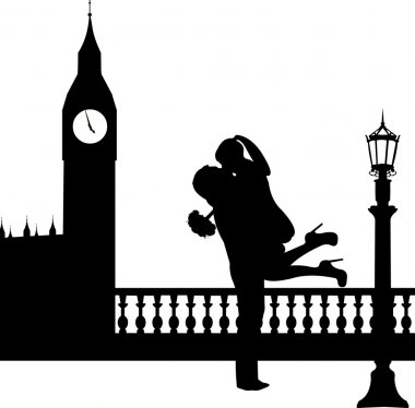 Couple in love with bouquet of flowers in front of Big Ben in London silhouette, one in the series of similar images clip art vector