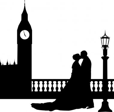 Wedding couple in front of Big Ben in London silhouette