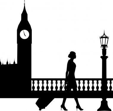 A business woman traveling on business trip in London and passes in front of Big Ben silhouette