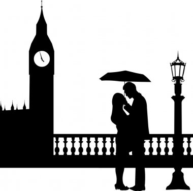Romantic couple in front of Big Ben in London under umbrella silhouette, one in the series of similar image clip art vector