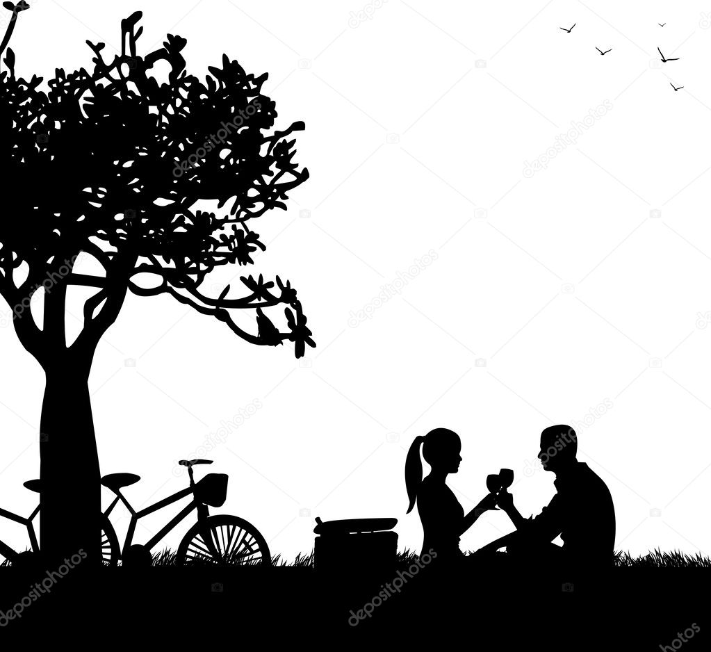 Romantic couple in picnic, with bikes in park under the tree toast with glass of wine in spring silhouette