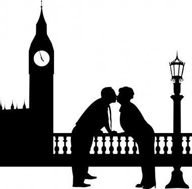 Lovely retired elderly couple kissing in front of Big Ben in London