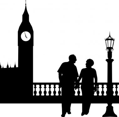 Lovely retired elderly couple walking in front of Big Ben in London
