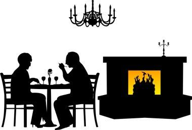 Lovely retired elderly couple having a romantic dinner in a restaurant silhouette