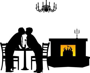 Lovely retired elderly couple kissing in restaurant