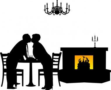 Lovely retired elderly couple kissing in restaurant for birthday