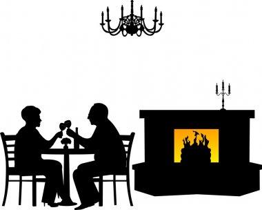 Lovely retired elderly couple drinking glass of wine in restaurant