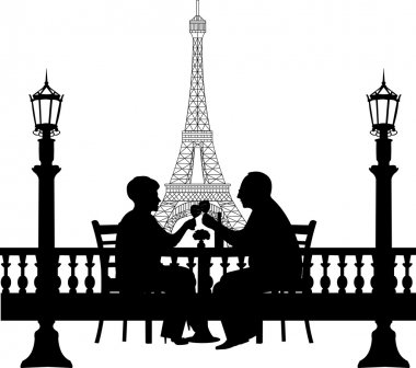 Lovely retired elderly couple drinking glass of wine in front of Eiffel tower in Paris