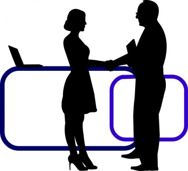 Business background with business people shaking hands in office