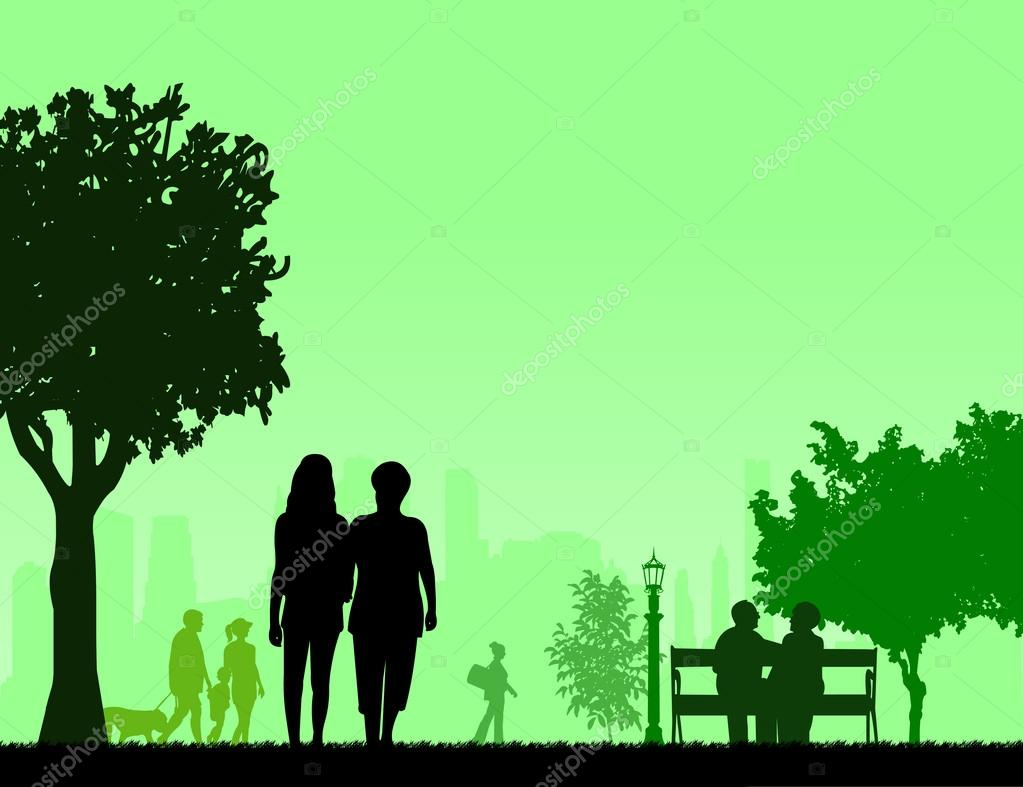 People in park and different activities in park scene silhouette layered