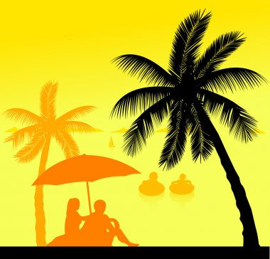 Little kids swim in the sea and the parents sit on the seashore under the palm trees silhouette layered