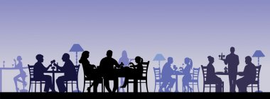 Silhouette of people eating in a restaurant with all figures as separate objects