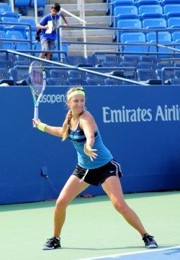 Grand Slam champion Victoria Azarenka practices for US Open at Billie Jean King National Tennis Center