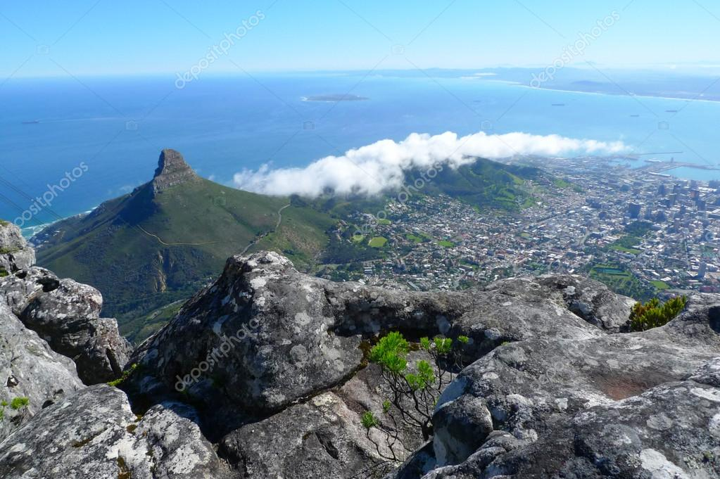 Lions Head and Cape Town, South Africa, view from the top of Table Mountain.