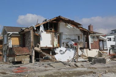 Destroyed beach houses four months after Hurricane Sandy on February, 28, 2013 in Far Rockaway, NY