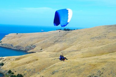 Tandem paragliding near Cristchurch, New Zealand