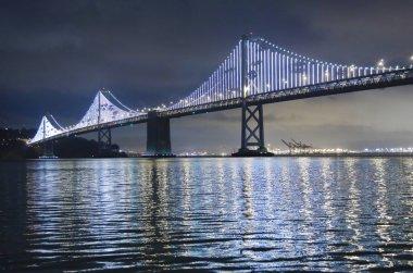 Illuminated Bay Bridge in San Francisco