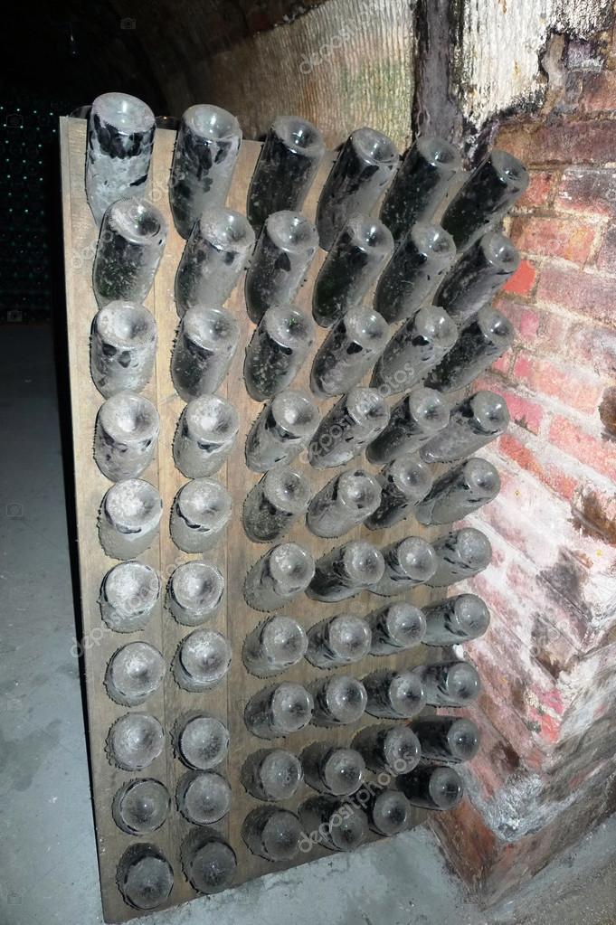 Champagne bottles stored in Moet Chandon cellar during riddling
