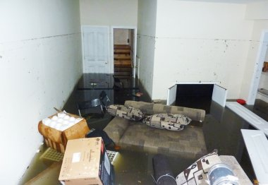 Completely flooded basement next day after Hurricane Sandy in Staten Island.